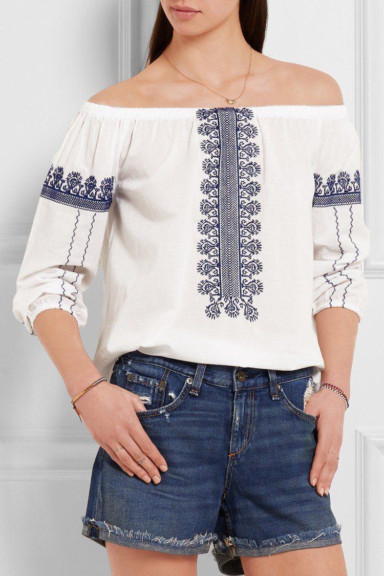 編輯推薦款: Madewell露肩刺繡上衣 參考價格:1,160CNY