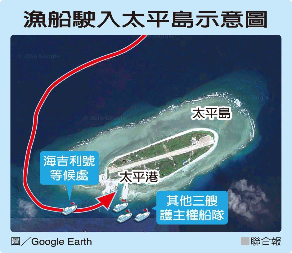 漁船駛入太平島示意圖 圖/聯合報提供