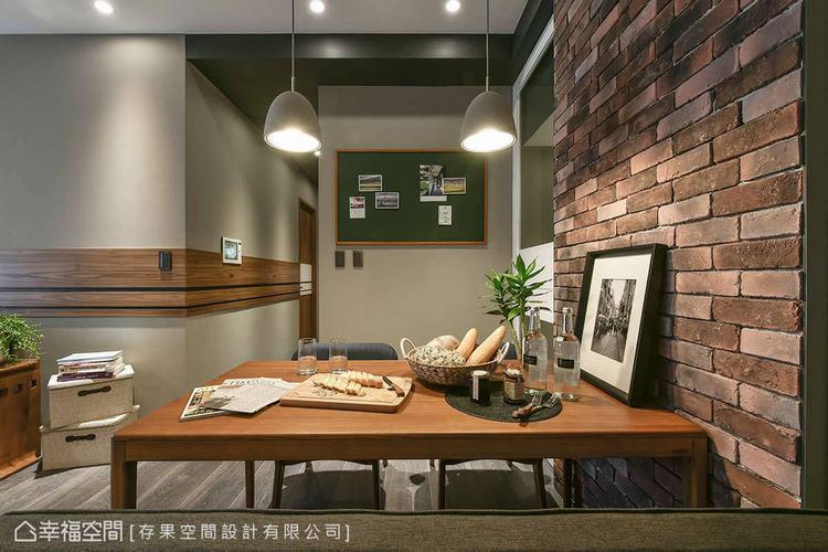 ▲餐廳設計:設計師黃子綺為餐廳帶入商空的元素,以文化石牆面、實木餐桌與水泥質感的...