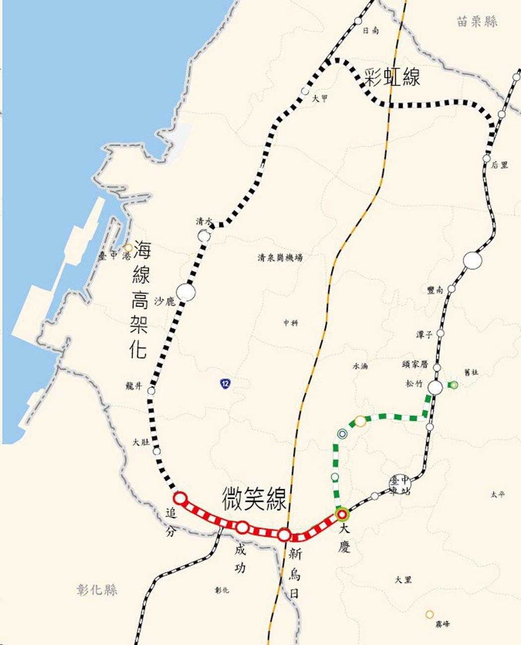 台中市政府極力推動「大台中山手線環狀鐵路計劃」,其中,成功至追分的「微笑山手線」...