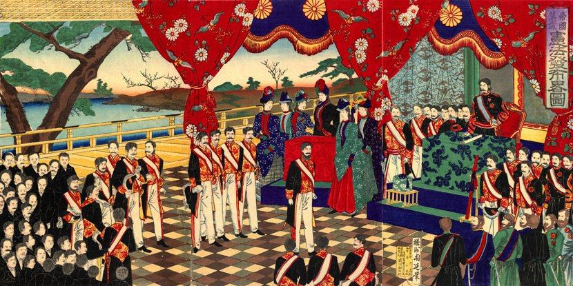 明治憲法當年乃是在富國強兵的大旗下,由維新元老們主導、打造出的普魯士型憲法。圖為...