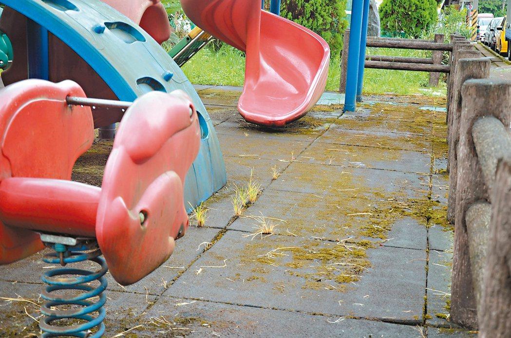 過港路一處兒童遊樂場設施鏽蝕,地墊長青苔。 記者游明煌/攝影