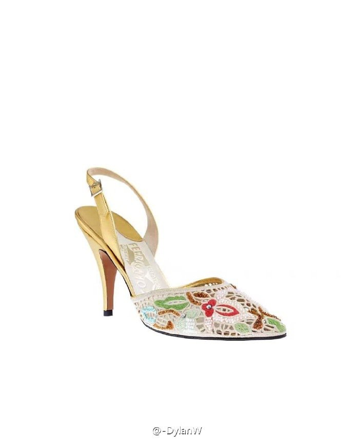 Salvatore Ferragamo復刻系列SOPHIA鏤空蕾絲雕花高跟鞋,全...