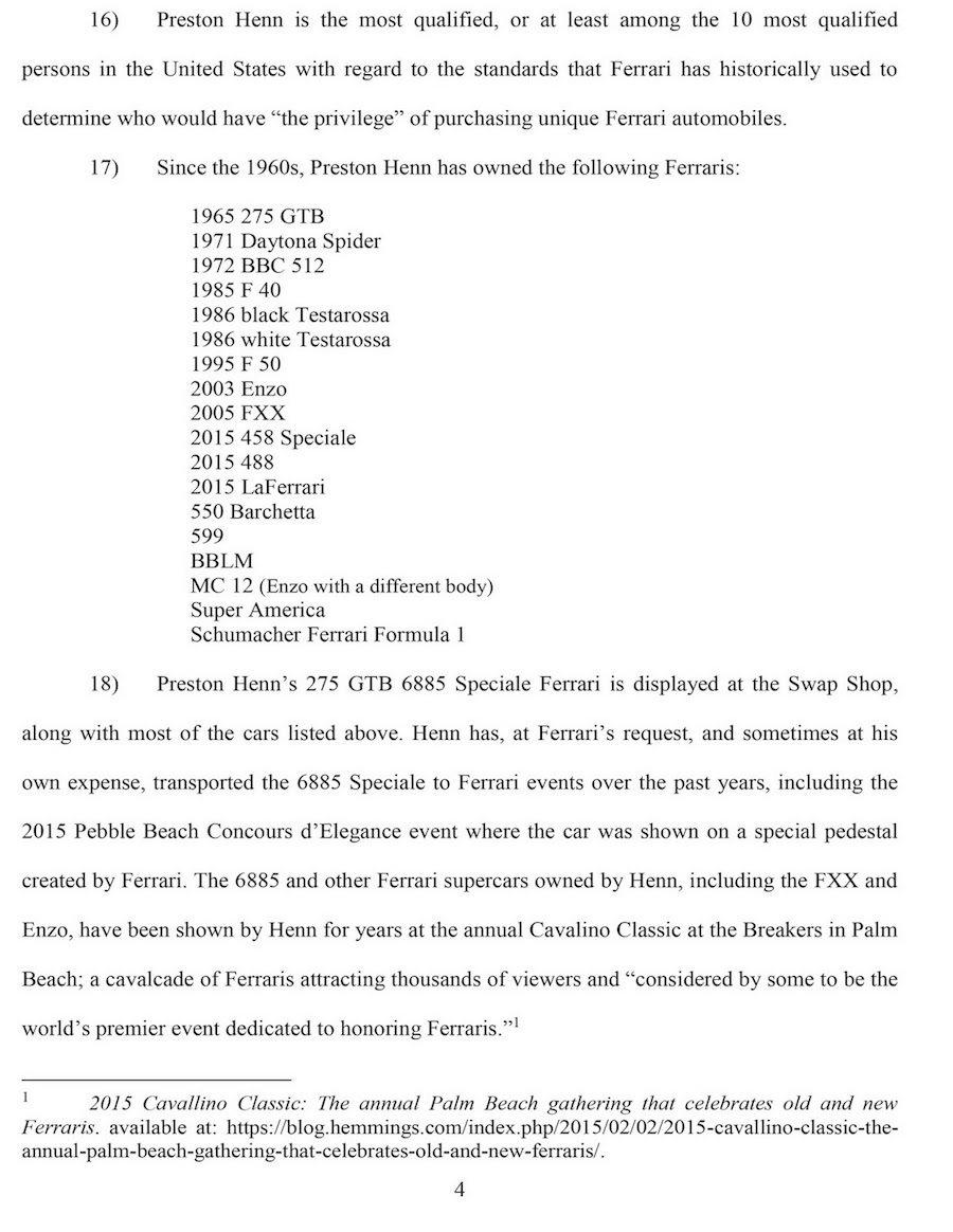 Preston Henn的起訴書上列出所有購買過的Ferrari車款。 摘自C...