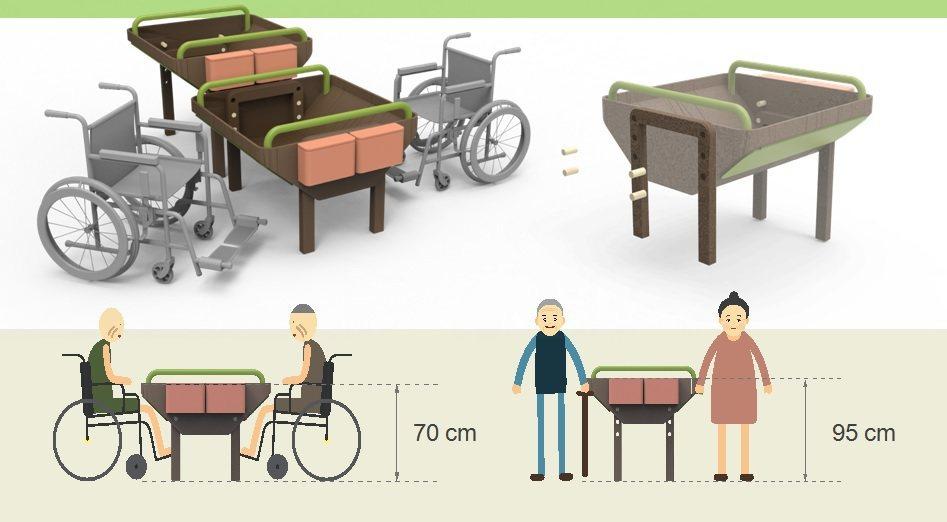 符合拄拐杖或坐輪椅長輩高度的園藝桌。 圖/許惠琇設計;林奕祺提供