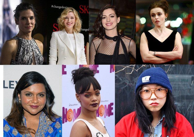 女版「瞞天過海」強大卡司(上排左起)珊卓布拉克、凱特布蘭琪、安海瑟薇、海倫娜寶漢...