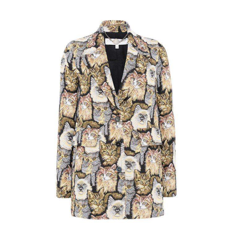Stella McCartney群貓圖案緹花外套,約58400元。圖/摘自Ste...