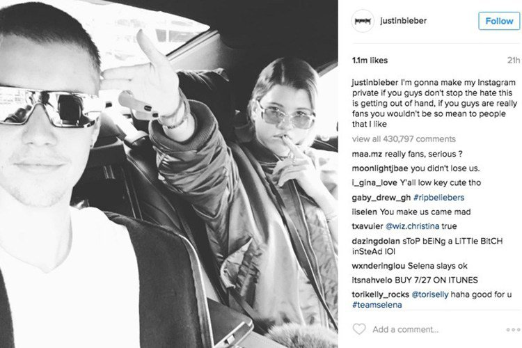 人氣歌手小賈斯汀(Justin Bieber)突然把Instagram帳號關閉。...