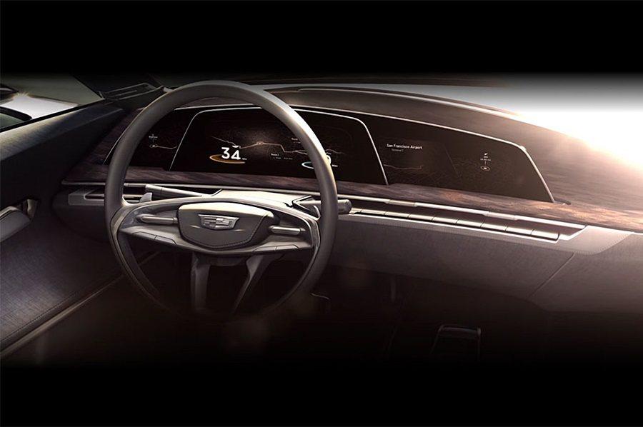 Cadillac全新設計的概念車,採用薄又具彈性、可彎曲性的OLED顯示螢幕。 ...