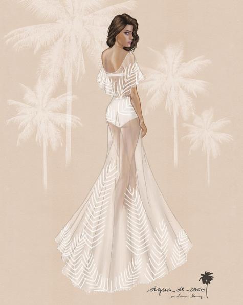 泳裝品牌Agua de Coco所設計的「婚服」手稿。圖/摘自aguadecoc...