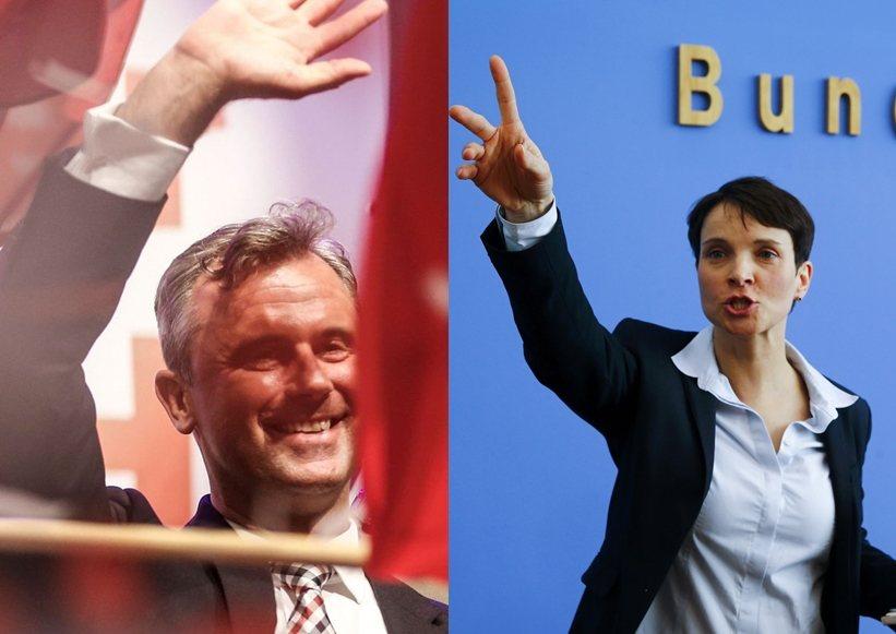 左為奧地利自由黨(FPÖ)總統候選人霍弗(Norbert Hofer),右為德國...