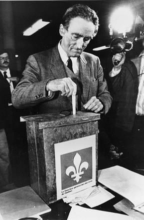 魁北克自由黨的領袖萊恩(Claude Ryan)在1980年獨立公投中投下「No...