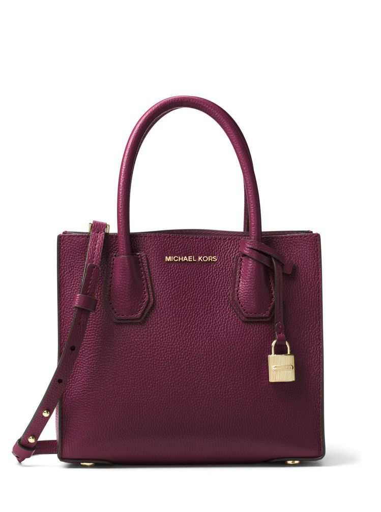 Mercer棗紅色方型托特包,售價(大)15,600元、(小)13,300元。圖...