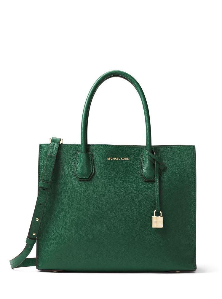 Mercer森林綠方型托特包,售價(大)15,600元、(小)13,300元。圖...