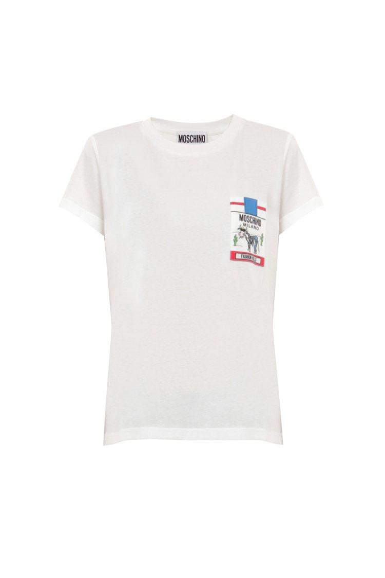 劉詩詩穿的MOSCHINO白T恤,6,800元。圖/藍鐘提供