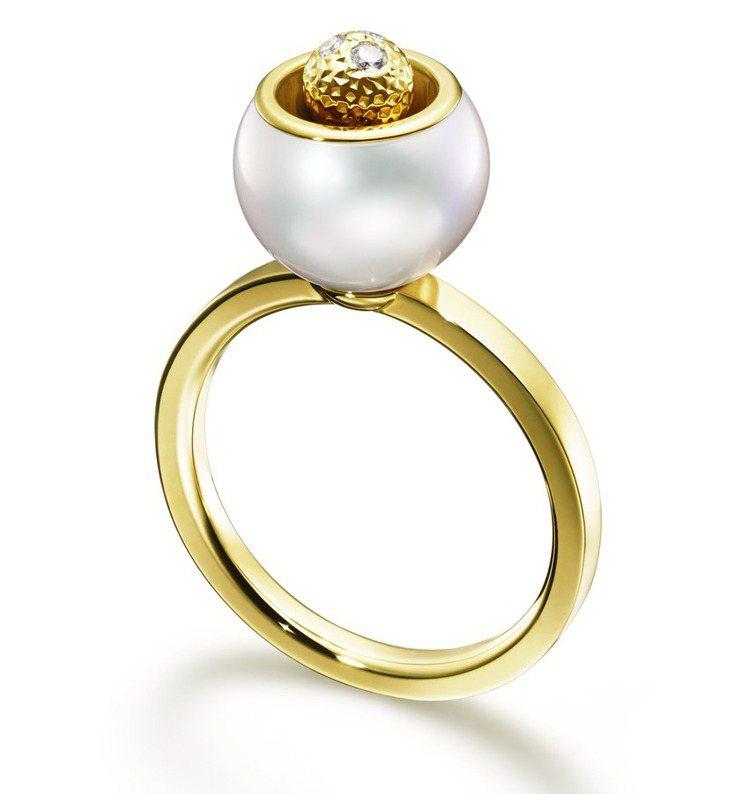 M/G TASAKI CUBIC PEARL珍珠黃K金戒指,71,000元。圖╱...