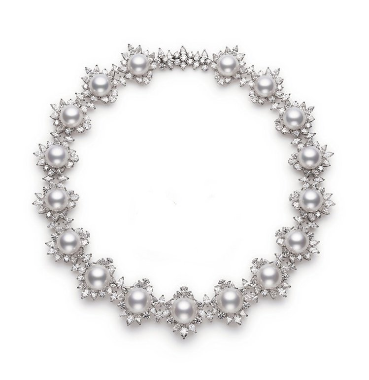 MIKIMOTO頂級珠寶系列南洋珍珠鑽石項鍊,2,210萬元。圖╱MIKIMOT...