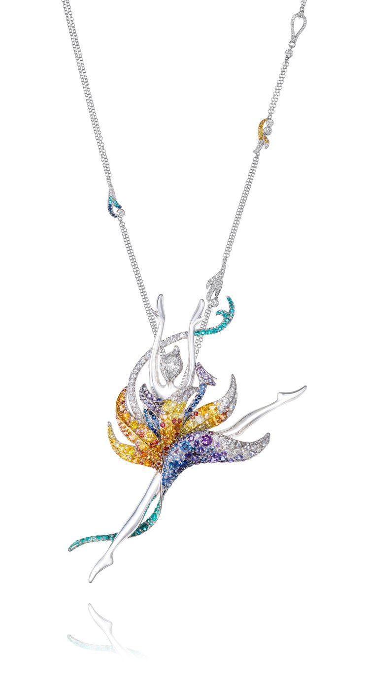 ANNA HU天堂鳥芭蕾舞伶胸針墜鍊。圖╱ANNA HU提供
