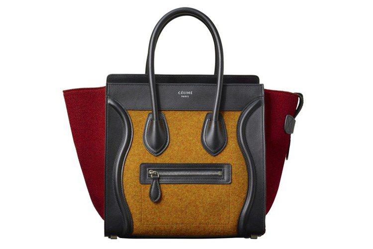 Luggage Micro橙紅毛氈拼色手提包,80,000元。圖/CELINE提...