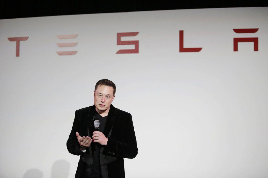 特斯拉(Tesla Motors Inc.)執行長馬斯克(Elon Musk)。...