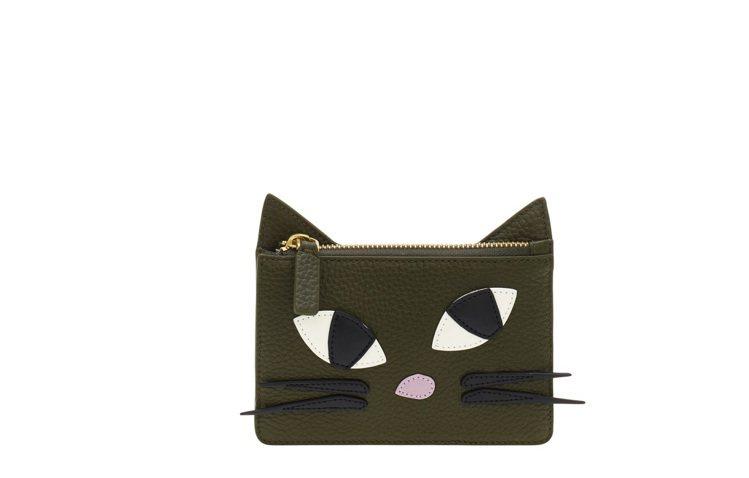 俏皮黑貓零錢包-墨綠款4980元。圖/LULU GUINNESS提供