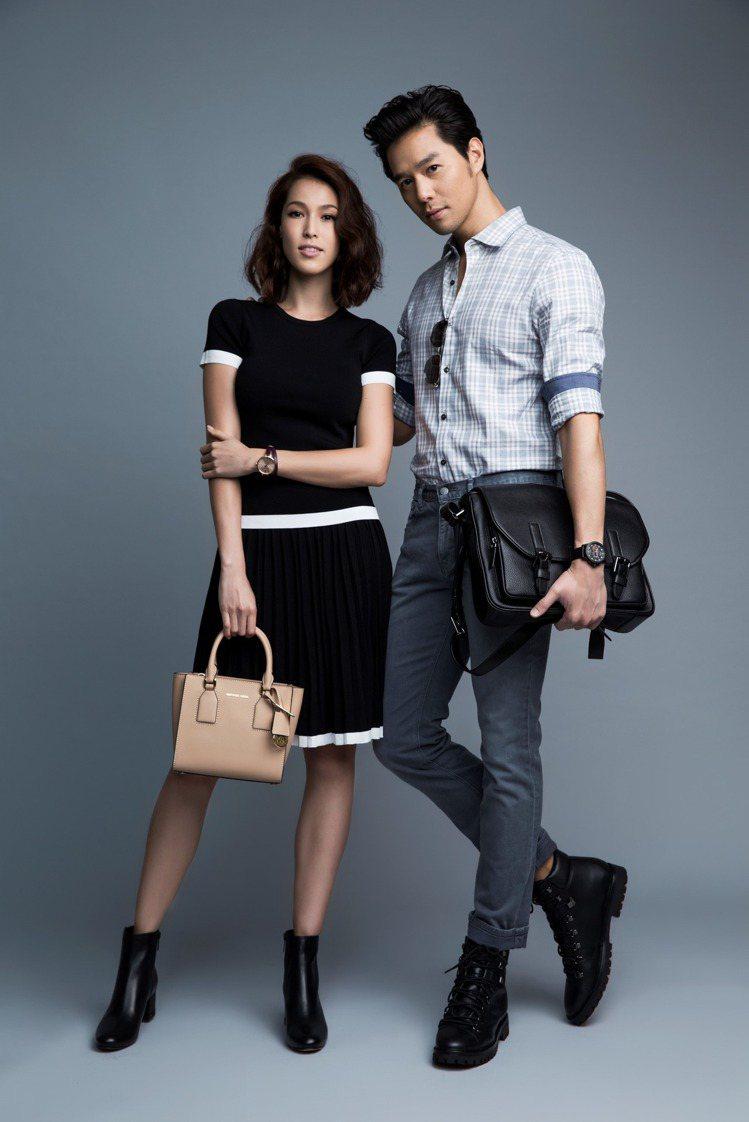 丁春誠與Akemi攜手詮釋都會時尚的穿搭風格。圖/MICHAEL KORS提供