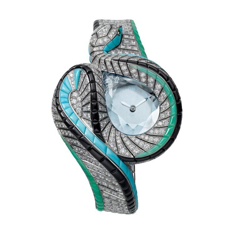 Serpent d'eau Mysterieux 水蛇造型神祕高級珠寶表,手動上...