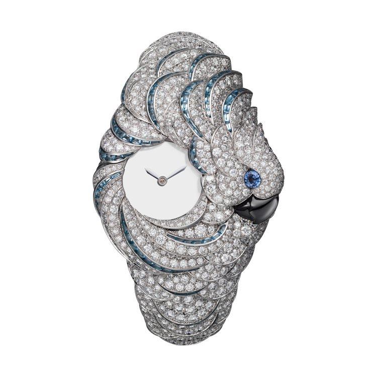 Ara Mysterieux鸚鵡神祕高級珠寶表,白K金,手動上鍊機芯,約3,83...