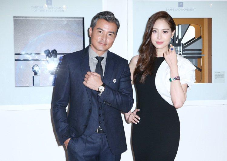白歆惠(右)、李銘順(左)出席卡地亞「珍稀‧時刻」腕表展。記者陳柏亨/攝影