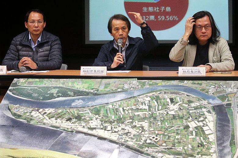 「生態社子島」僅獲兩成票數,顯示地方對整個規劃過程的不滿以及不信任。 攝影/...