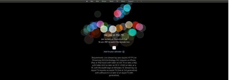 蘋果官網已公布9月7日發表會訊息,提醒果粉屆時收看線上直播。圖/摘自蘋果官網