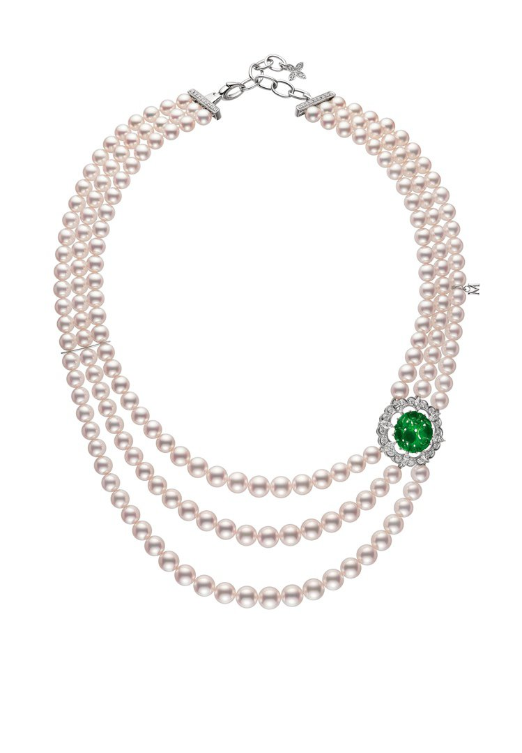 MIKIMOTO頂級珠寶系列日本Akoya珍珠翡翠墜飾串鍊,194萬元。圖╱MI...