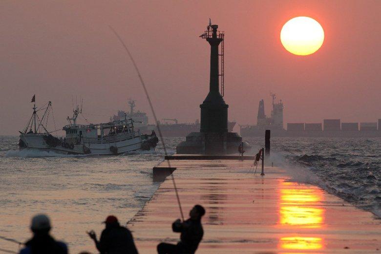 西子灣夕陽。 攝影/記者劉學聖
