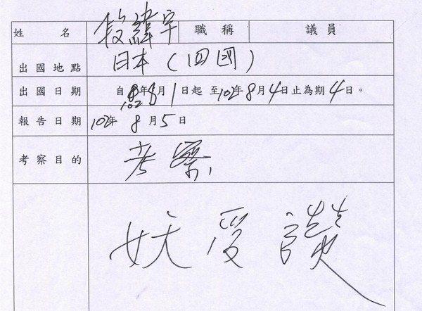 台中市議員段緯宇的出國訪查報告寫上「妖受讚」三個字。 圖/台中市議會網站