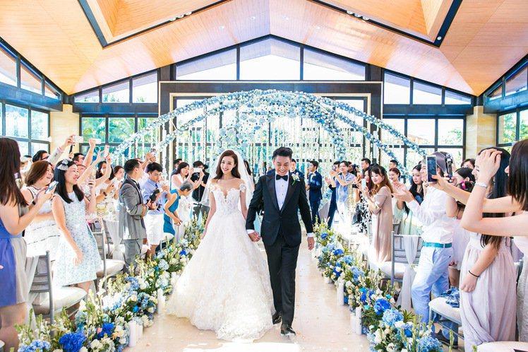 朱孝天、韓雯雯大婚,選在教堂內完婚。圖/Lens婚禮影像機構提供
