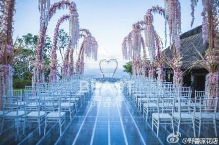 林心如、霍建華大婚,現場以當地傳統花藝布置。圖/摘自微博