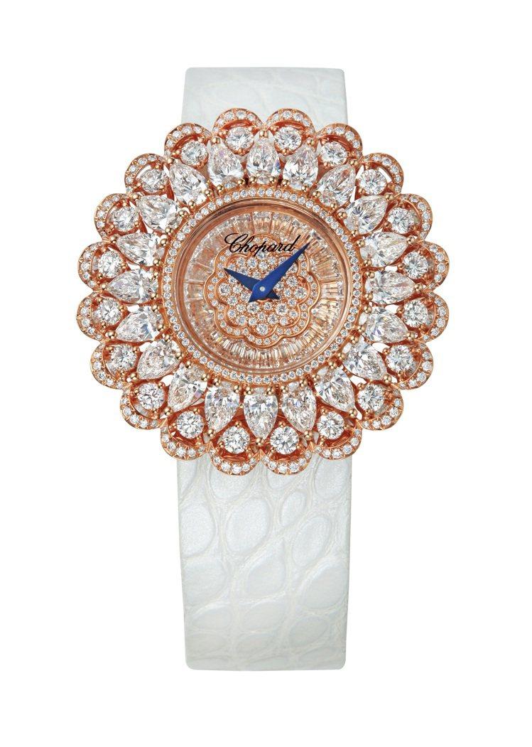 珍愛蕭邦系列腕表,18K玫瑰金材質,表盤鑲100顆1.35克拉鑽石,表圈鑲490...