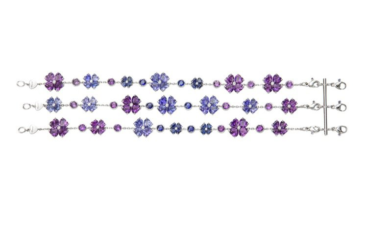 For you系列手練,18K白金材質,鑲嵌36顆14.38克拉的心型紫水晶,3...
