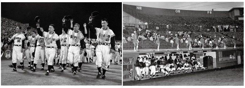 左:1963年球團獲得洋聯冠軍的場景,這也是西鐵獅最後一次的冠軍。右:1972年...