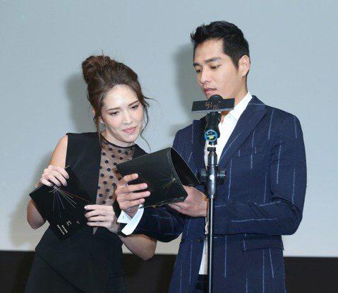 藍正龍與許瑋甯出席105年度電視金鐘獎入圍名單公布記者會,公布入圍名單。