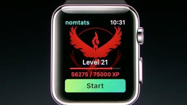 蘋果手表玩精靈寶可夢的畫面。圖/翻攝自蘋果發表會直播
