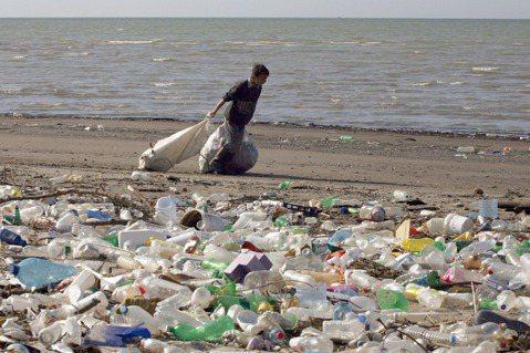 進入海洋的塑膠垃圾每年約有八億噸,相當於每分鐘就有一台垃圾卡車,將車上的垃圾都倒...