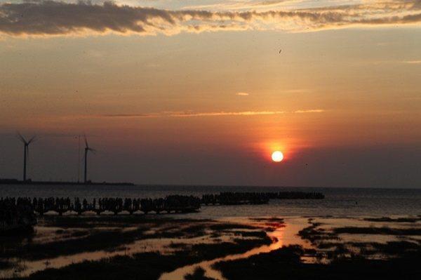 傍晚時分夕陽沒入雲海,將高美濕地的天空染紅。 圖與文/記者許正宏
