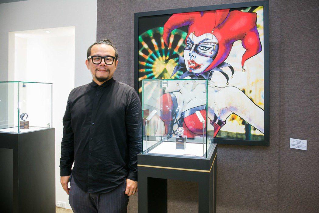 知名藝術家暨策展人蘇仰志出席Bubble系列彩繪藝術展 。圖/「高登鐘錶」提供