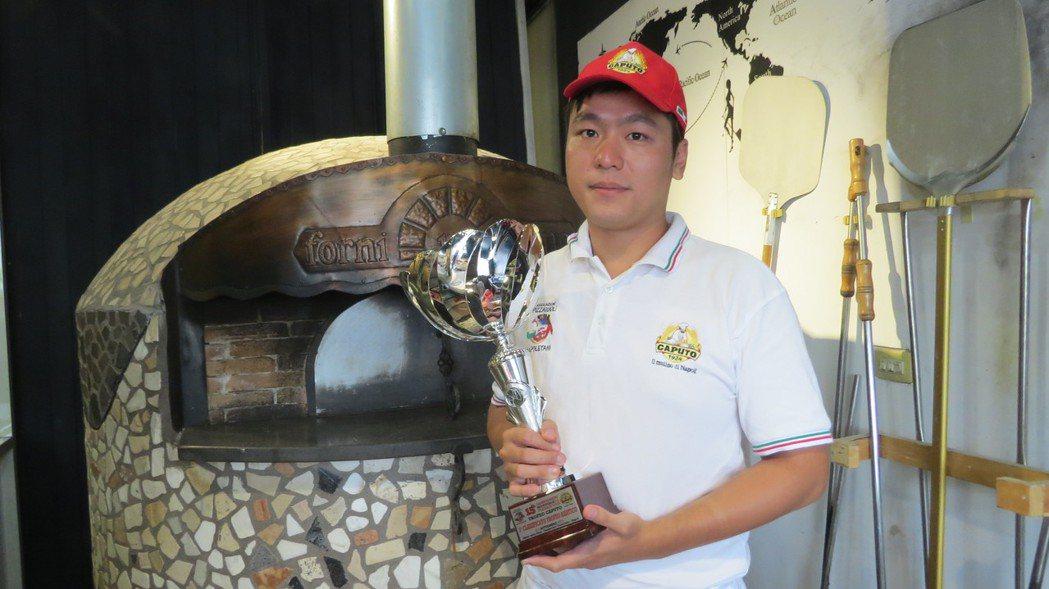 徐靖忠非科班出身,練就好手藝,在拿坡里披薩世賽中為國爭光。圖/徐靖忠提供 范榮達