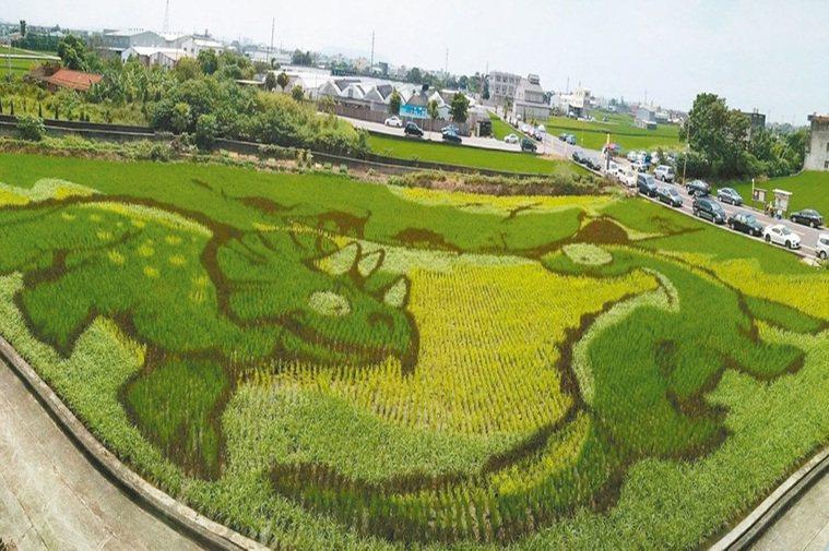 苗栗縣苑裡鎮農會藺草文化館旁的稻田彩繪示範區,鮮活浮現造型可愛吸睛的恐龍圖案。 ...