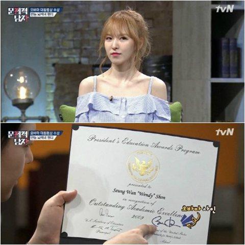 Red Velvet 成員 Wendy 做客有線台 tvN《腦性時代-問題男人》,大展「腦性女」精英面貌。節目中 Wendy 表示:「從小學5年級一直到高三都是國外上學,英語、西班牙文和法語都會一點...
