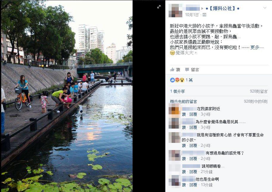 網友在爆料公社貼文指出,有家長陪同孩子在新莊中港大排撈烏龜,被民眾勸阻,家長卻回...