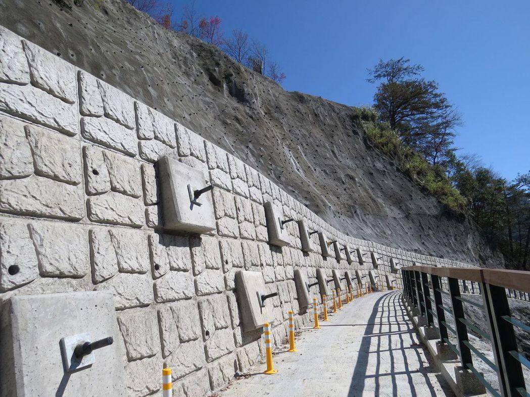 南投林管處在奧萬大楓林步道採懸臂式擋土牆與步道路面共構設計,並藉複拉式地錨增進邊...