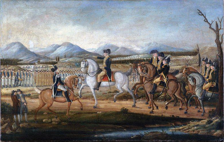 喬治‧華盛頓檢閱即將開赴賓夕法尼亞州西部平息暴亂的軍隊。 圖/維基共享